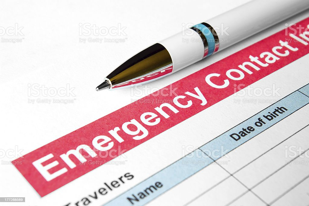 Emergency Contact Information stock photo