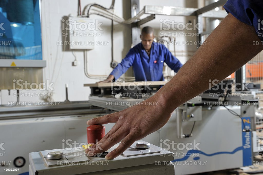 Emergency cutoff switch front focus stock photo