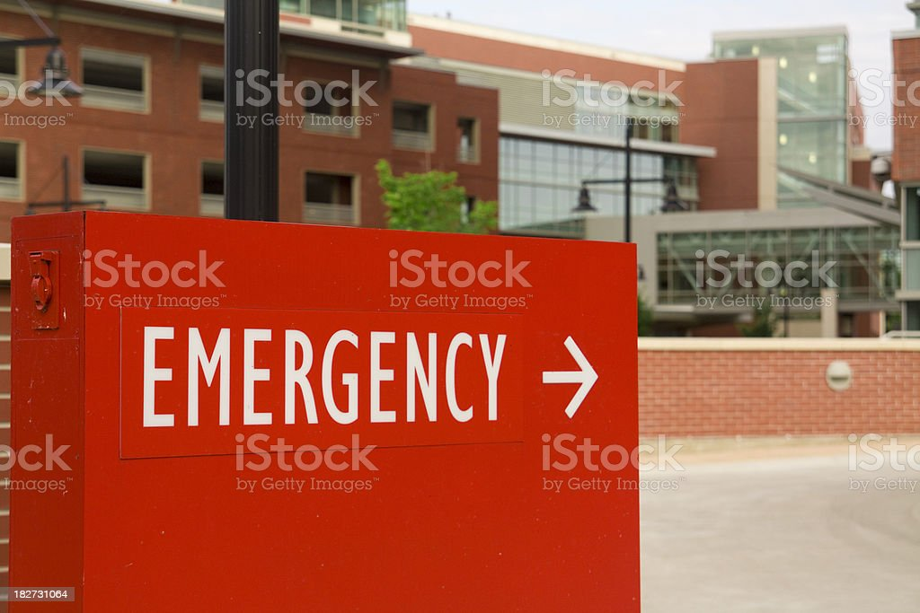 A sign at the local hospital directs ambulances and other traffic...