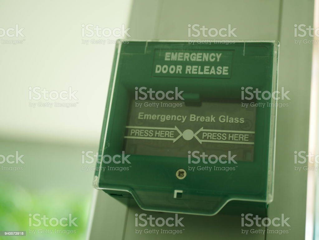 Emergency door switch stock photo