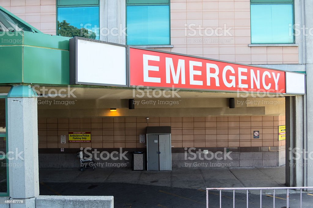The emergency entrance of a hospital.