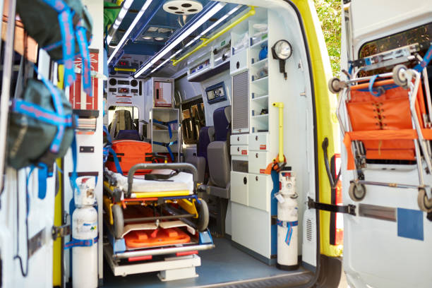 Emergency Equipment Inside Ambulance Cabin stock photo