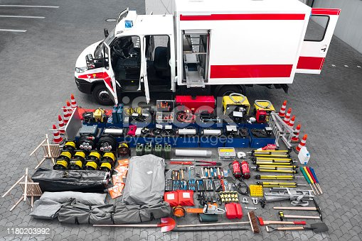 Emergency equipment of a German civil protection rescue vehicle - all identifiable logos and numbers have been removed carefully