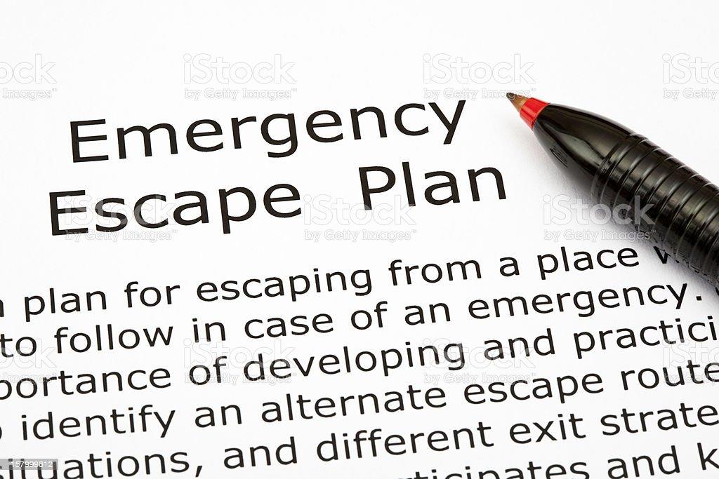 Emergency Escape Plan stock photo