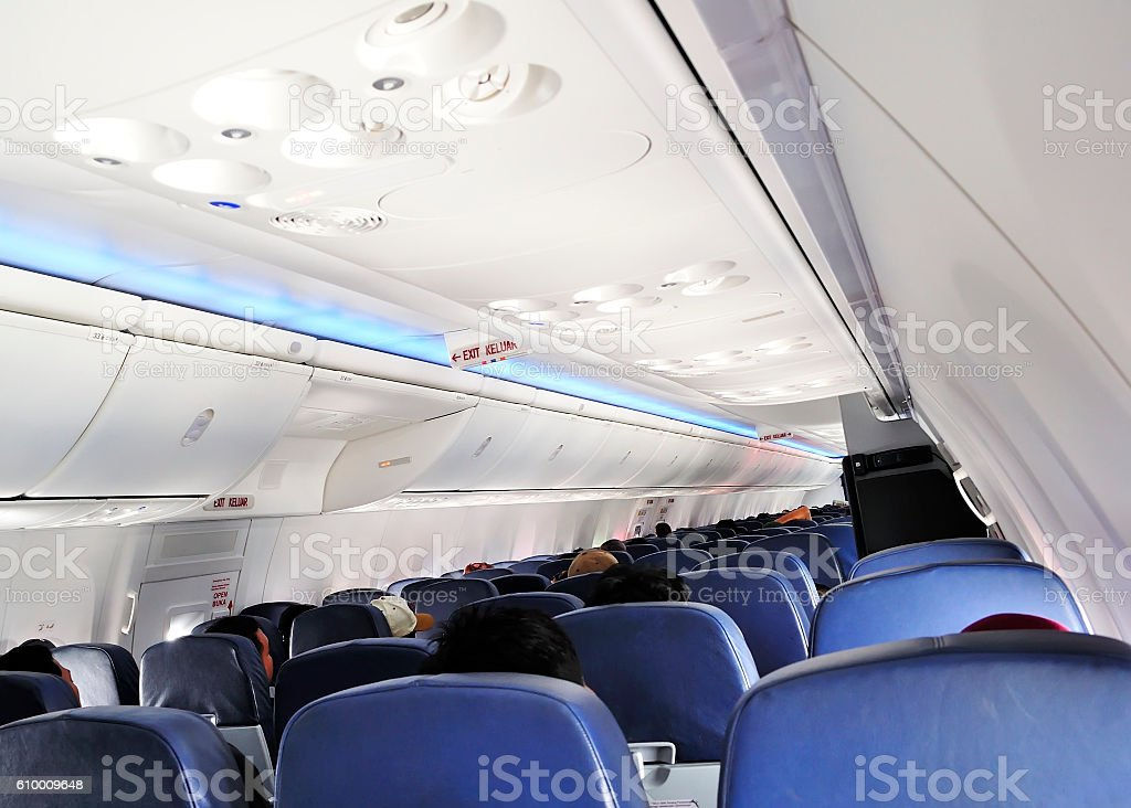 Emergency Exit door on airplane stock photo