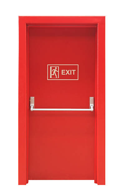 emergency exit door - exit sign stock photos and pictures
