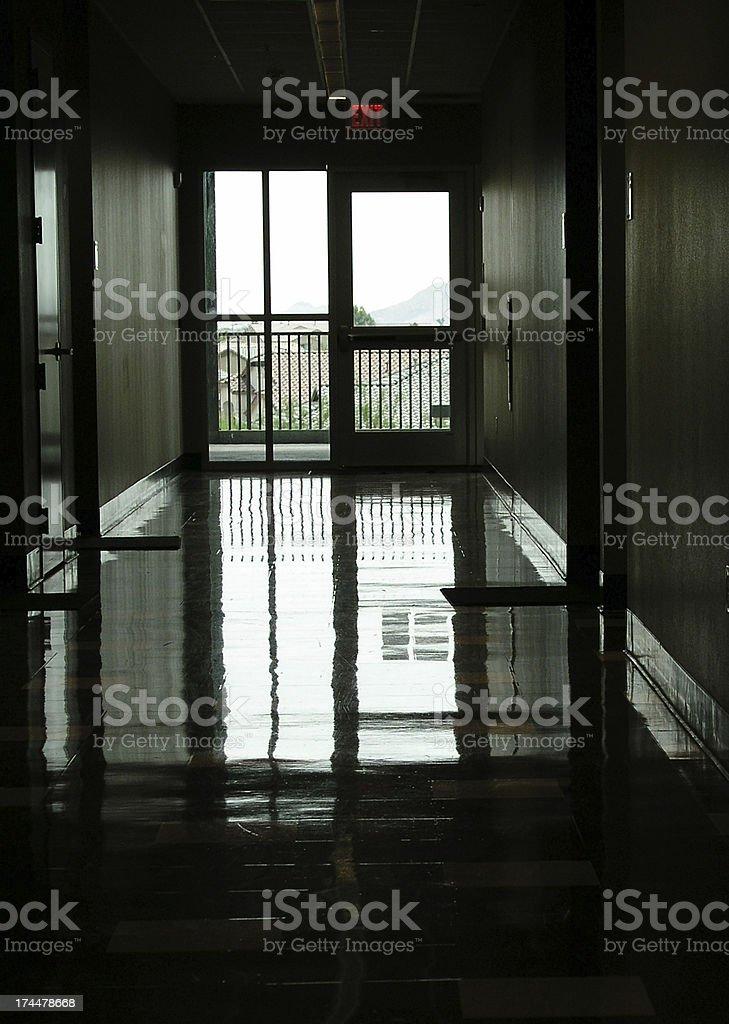 Emergency exit hallway royalty-free stock photo
