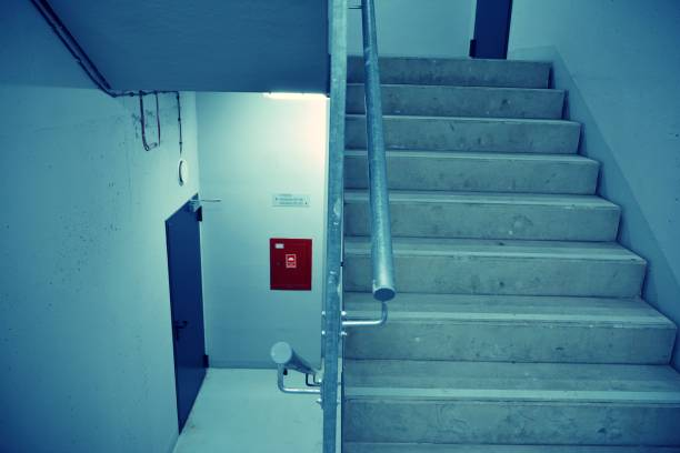 Emergency exit in a residential apartment building. stock photo