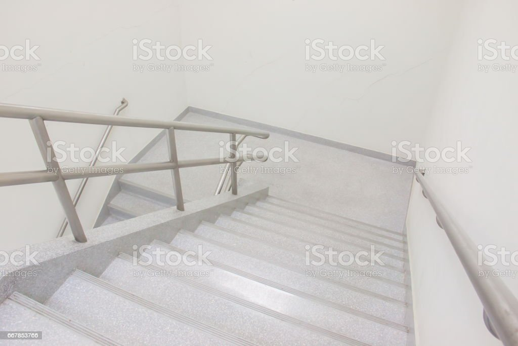 Emergency Exit in workplace, stairwell in a modern building stock photo