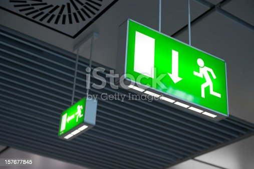 istock Emergency exit light sign 157677845