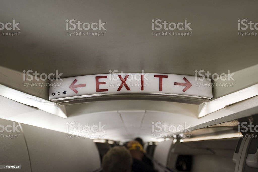 Emergency Exit Row Sign royalty-free stock photo
