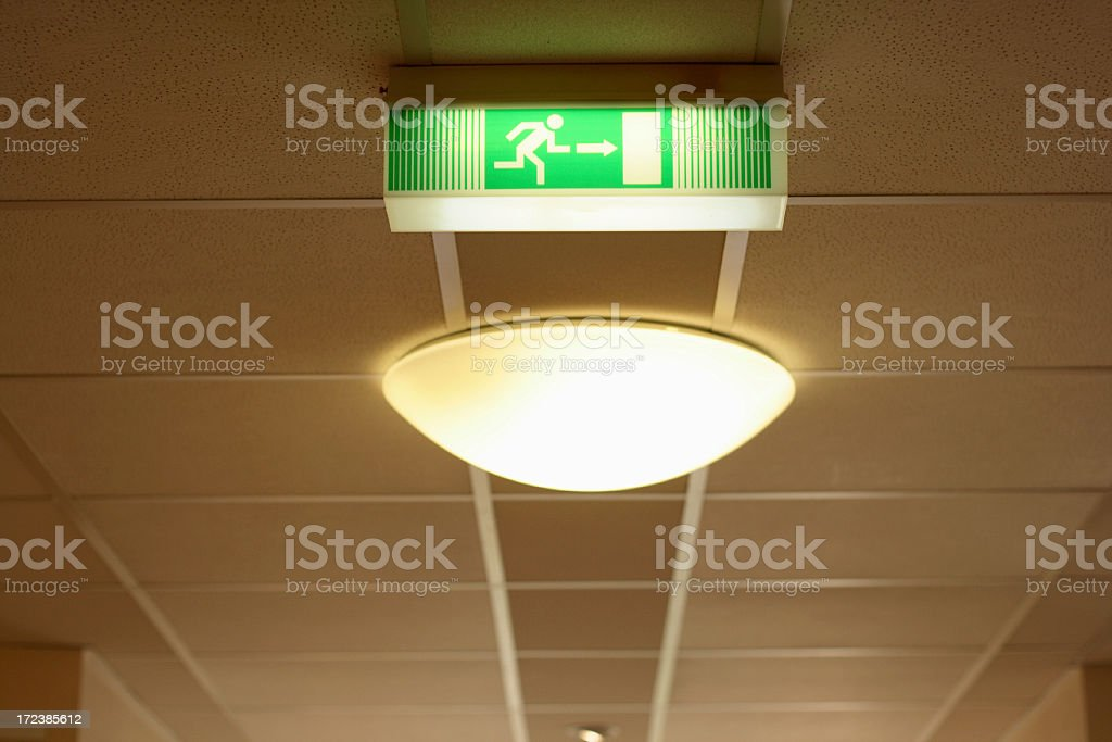 emergency exit sign in a hospital royalty-free stock photo