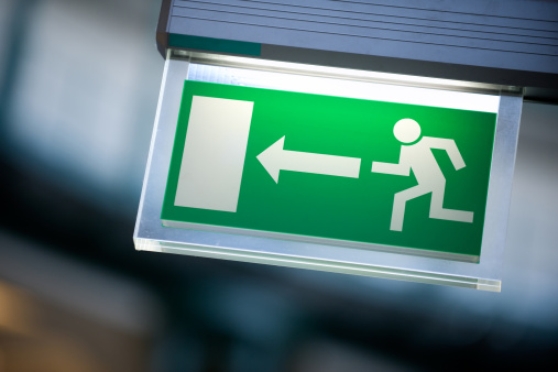 istock Emergency exit sign in white and green 154954792