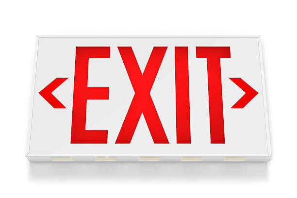 emergency exit sign - exit sign stock photos and pictures
