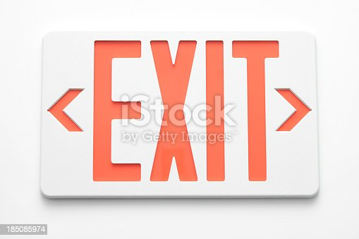 Close up of an Emergency Exit Sign against a white background.