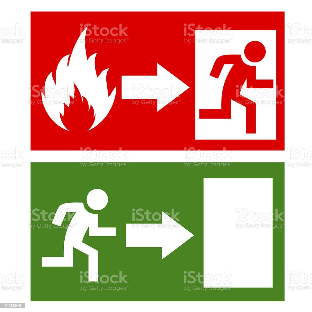 Emergency exit signs stock photo