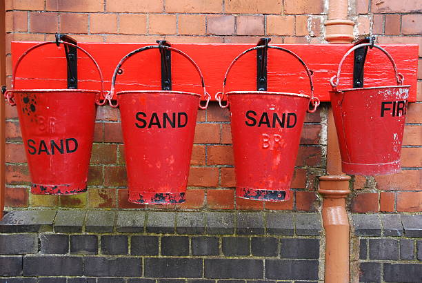 Emergency fire buckets stock photo