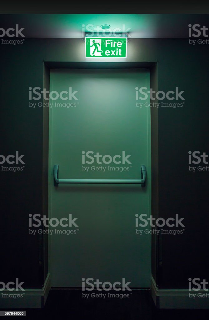 Emergency Fire Exit Door stock photo