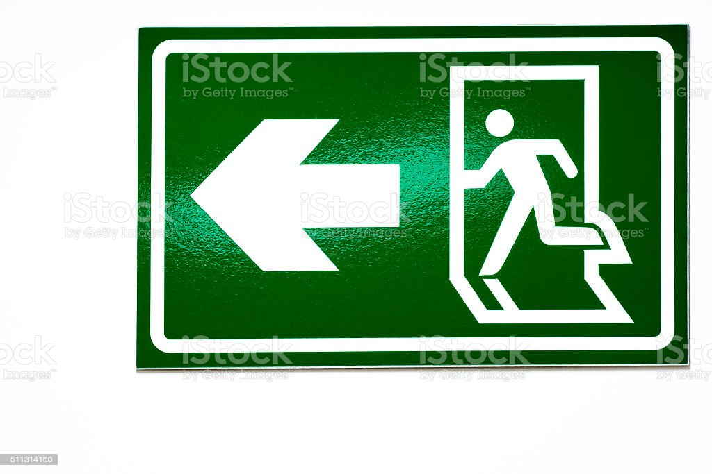 Emergency fire exit label stock photo