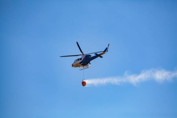 Emergency fire helicopter stock photo