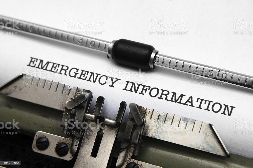 Emergency information royalty-free stock photo