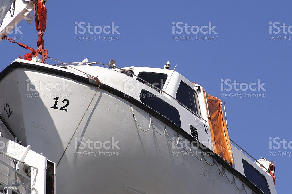 emergency life boat closeup stock photo