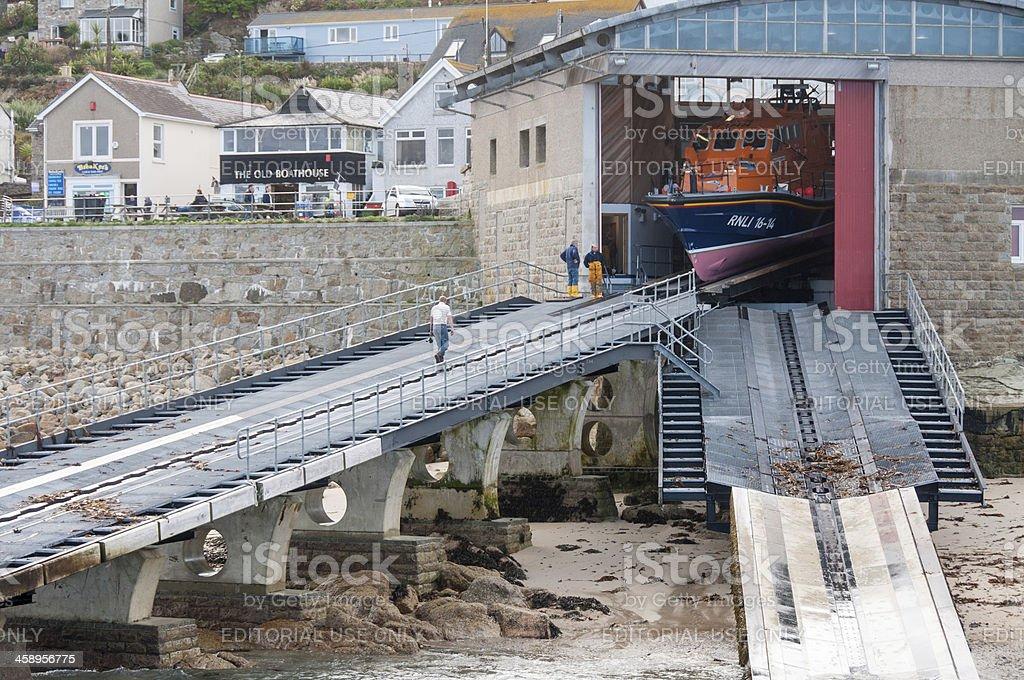 Emergency Life Boat Launch stock photo