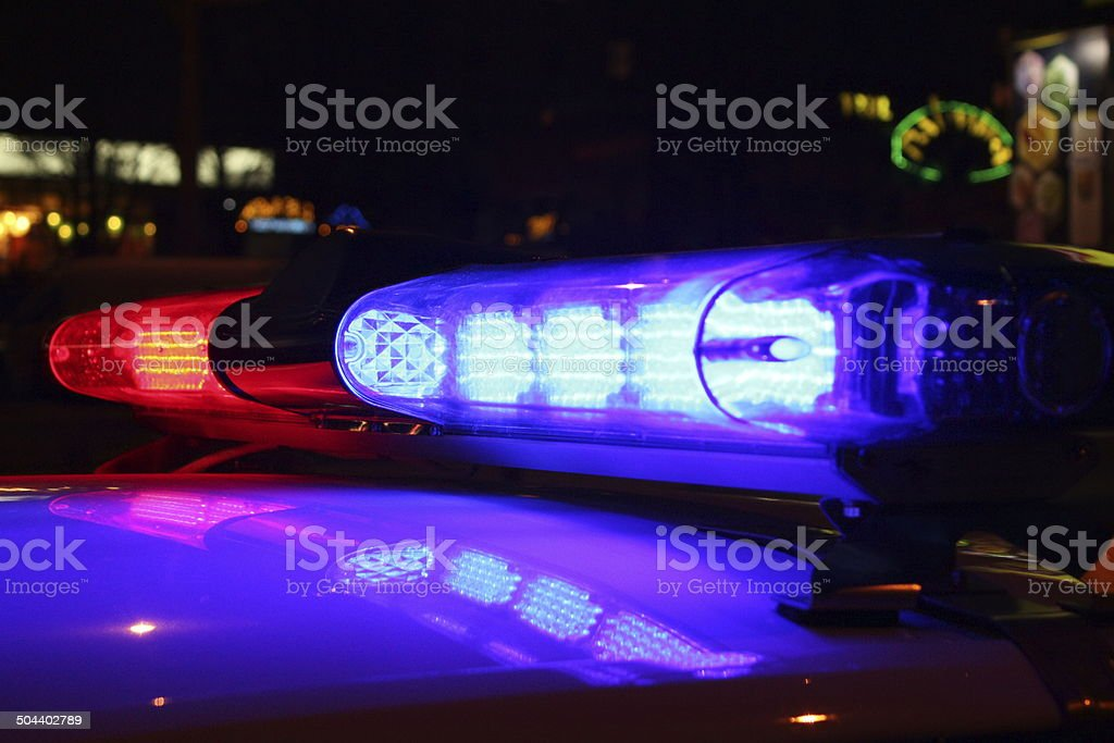 Emergency lights at night stock photo