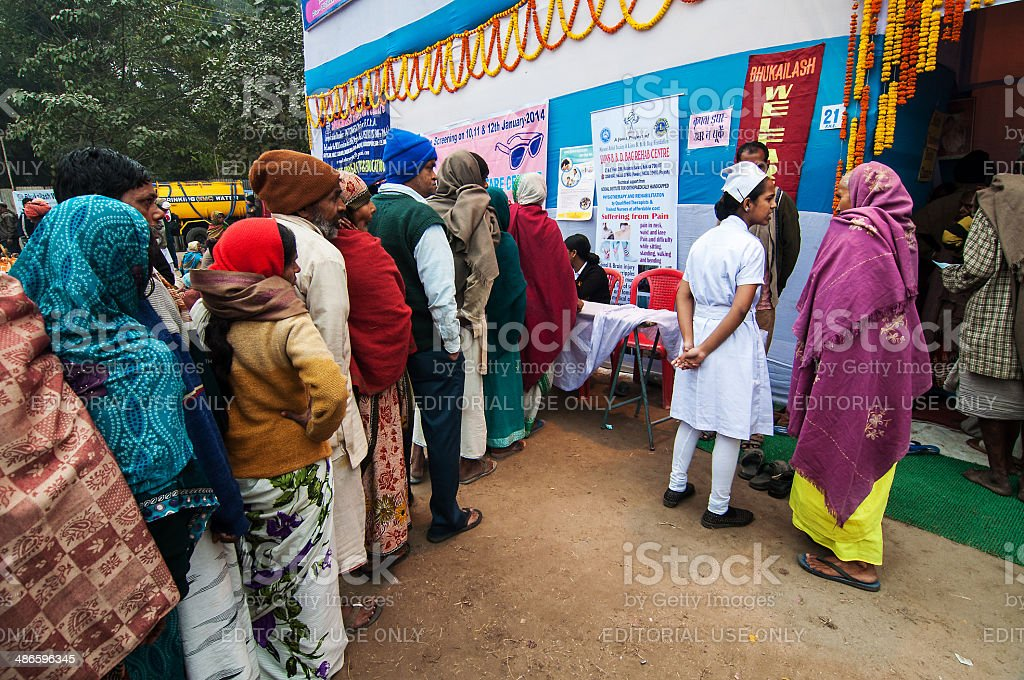 Notfall-medizinische camp im Babughat, Kolkata, Indien – Foto