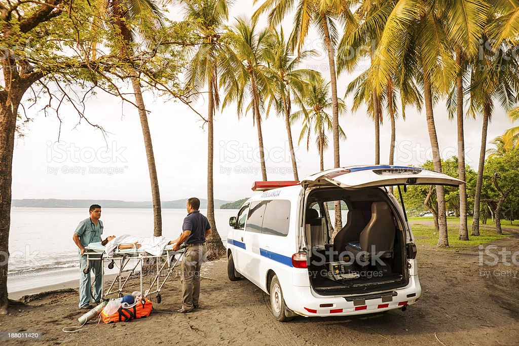 Emergency medical care in the tropics stock photo