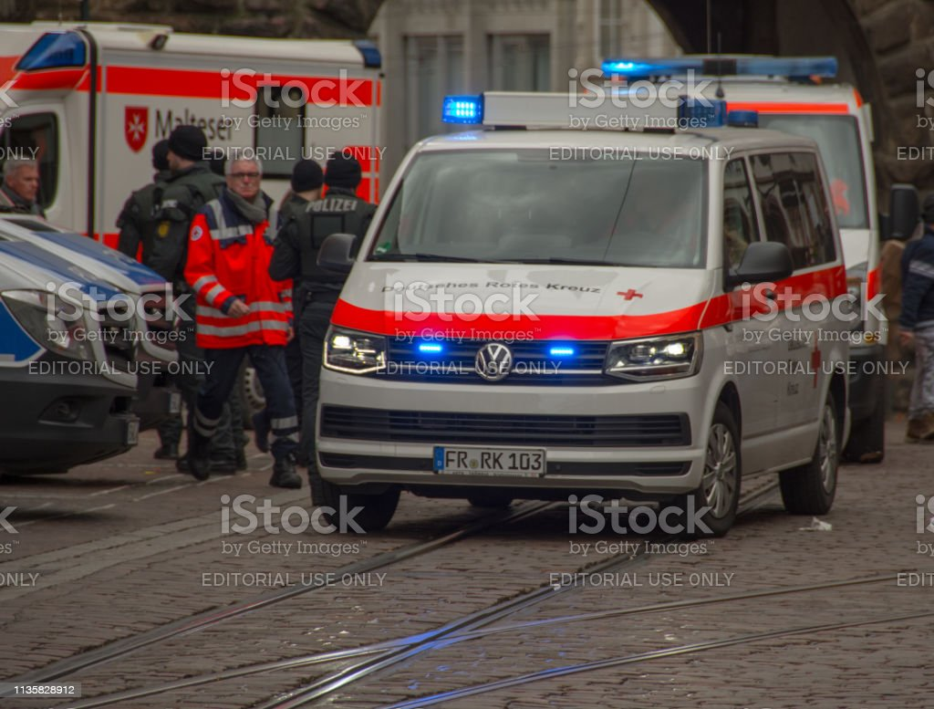 Van of German red cross Freiburg on the day of the annual shrove...