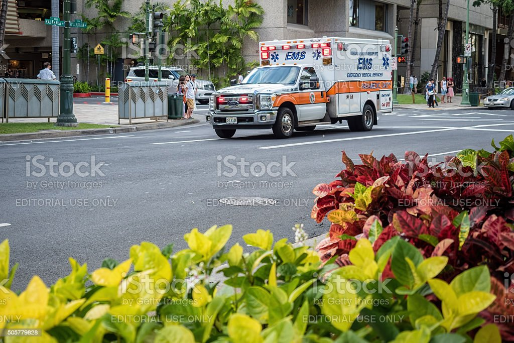 Emergency Medical Services vehicle in hurry stock photo