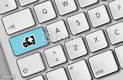 Emergency message on a keyboard.