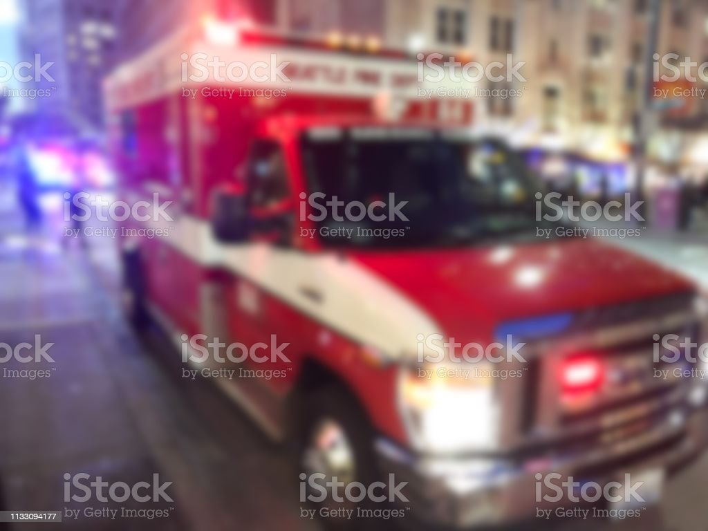 defocused ambulance in the city.