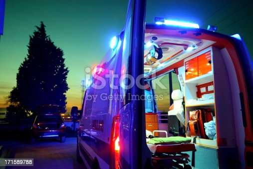 Emergency Ambulance at sunset.