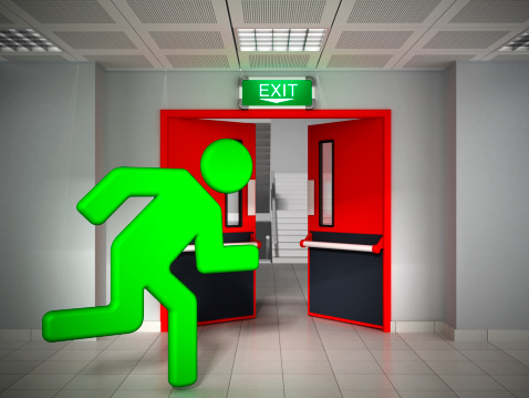 Green stick figure running through the emergency exit door.Similar images: