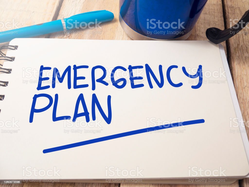 Emergency Plan, Motivational Words Quotes Concept royalty-free stock photo