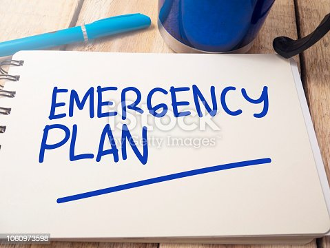 istock Emergency Plan, Motivational Words Quotes Concept 1060973598