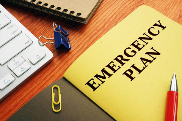 Emergency plan or Disaster Preparedness on the desk. Emergency plan or Disaster Preparedness on the desk. accidents and disasters stock pictures, royalty-free photos & images