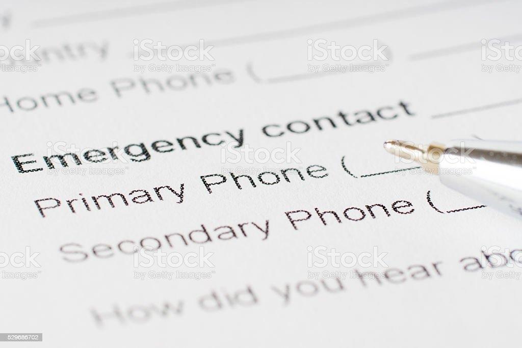 emergency plan paper sheet stock photo