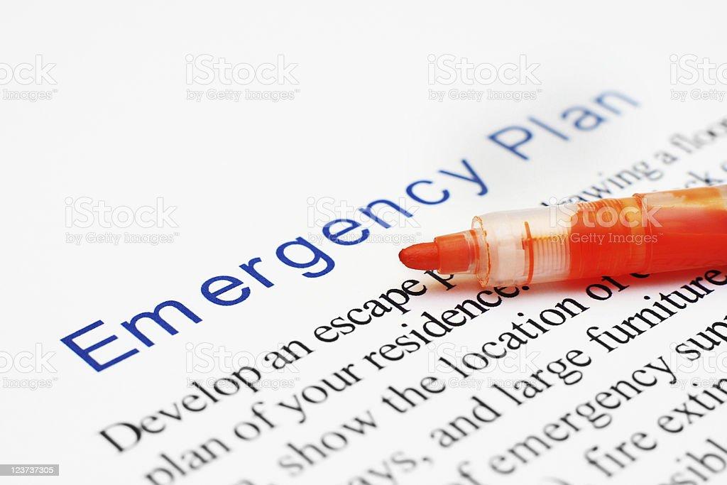 Emergency plan stock photo