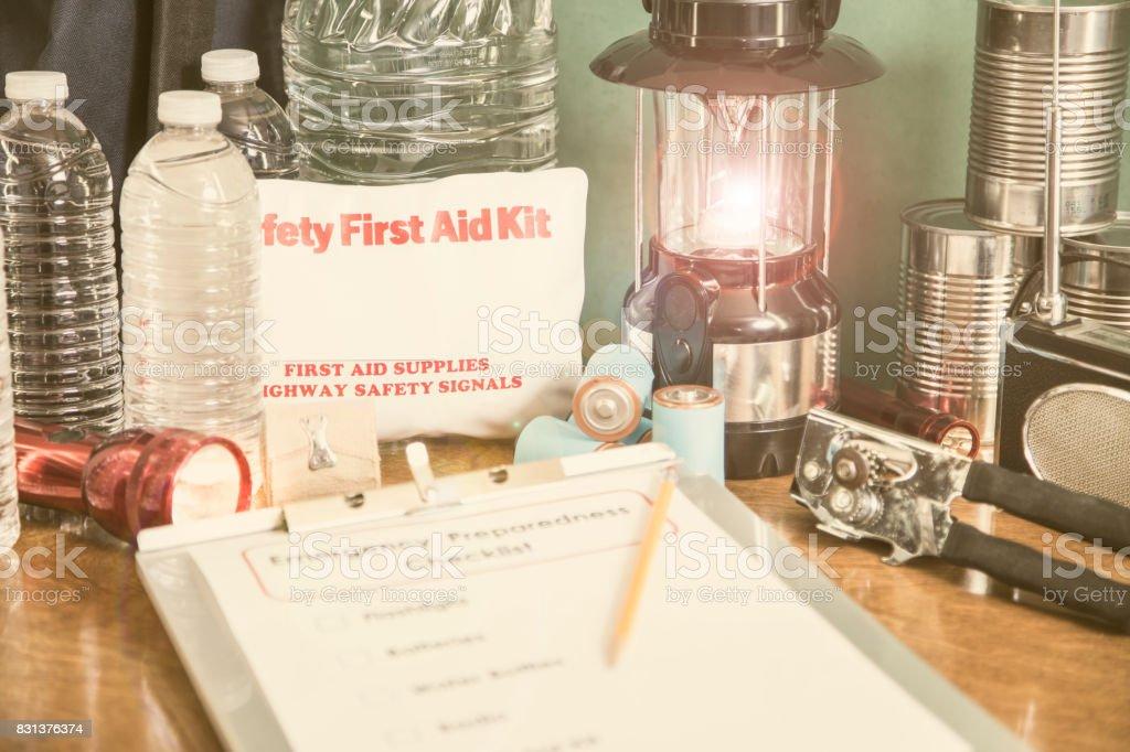 Emergency preparation, natural disaster supplies. stock photo