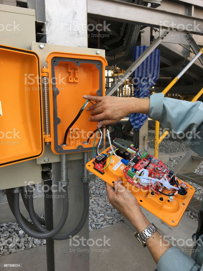 Emergency repair  telephone on site. stock photo