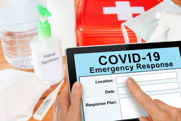 emergency response kit for covid19 coronavirus with mask and sanitizer - emergency response stock pictures, royalty-free photos & images