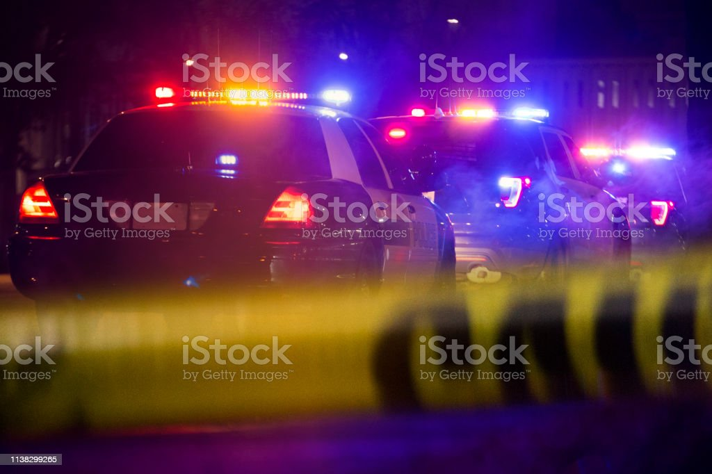 Emergency Response Police units respond on scene. Accidents and Disasters Stock Photo