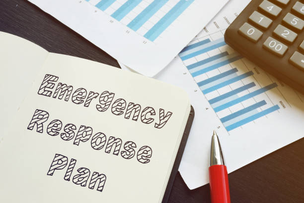 Emergency response plan is shown on the conceptual business photo Emergency response plan is shown on the conceptual business photo emergency response stock pictures, royalty-free photos & images