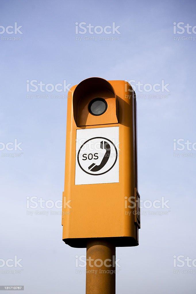 Emergency Road Telephone beside a highway - Germany royalty-free stock photo