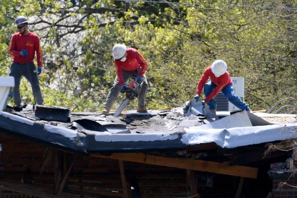 Emergency Rooftop Repair stock photo