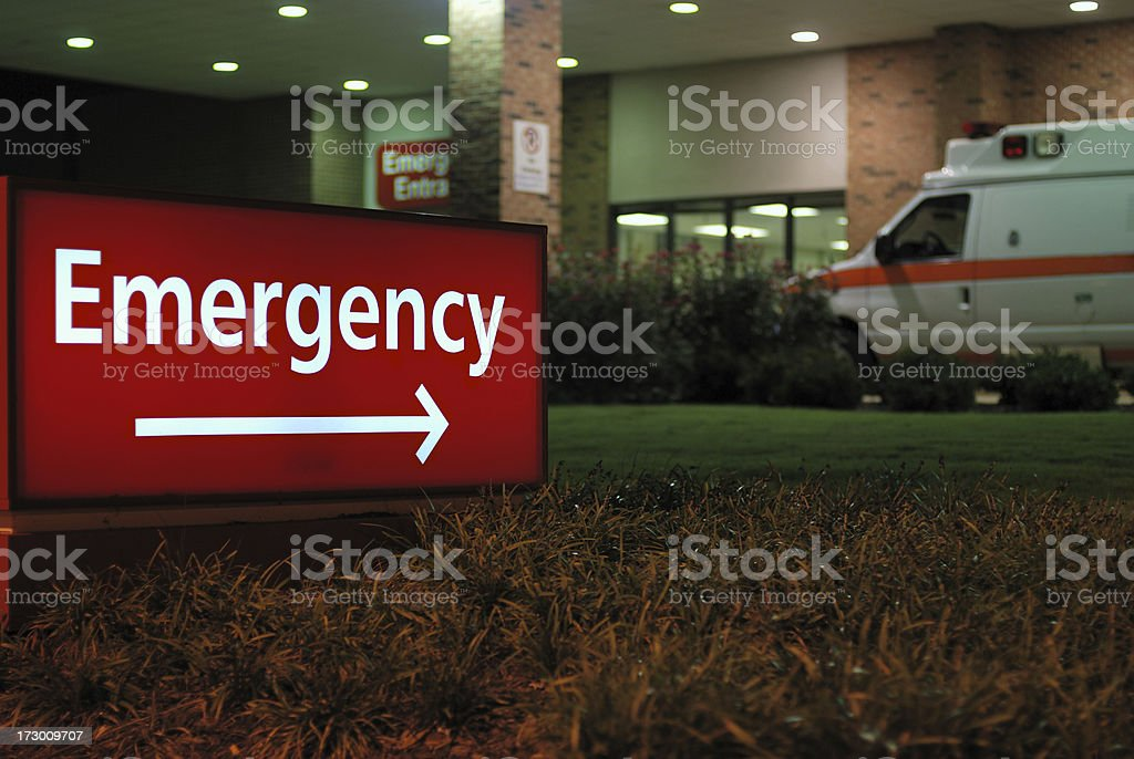 Emergency room entrance sign with ambulance stock photo