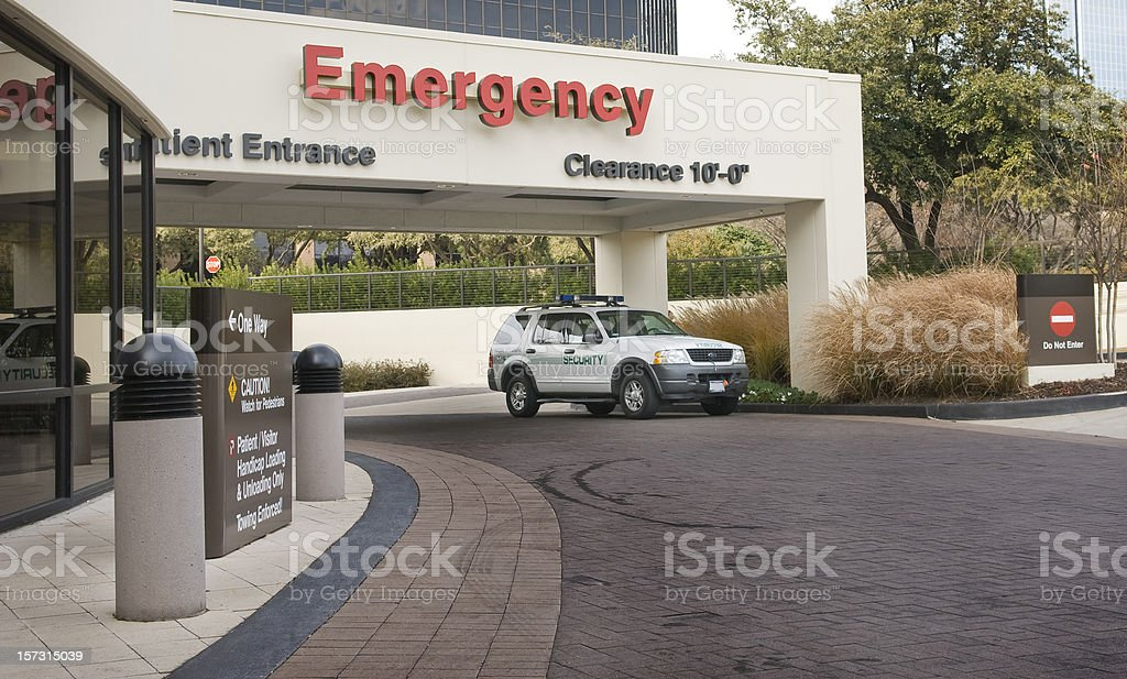 Emergency Room Entrance With Security stock photo
